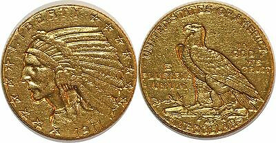 Usa 5 Dollars 1911 Km#128 Indian Head Or  Gold