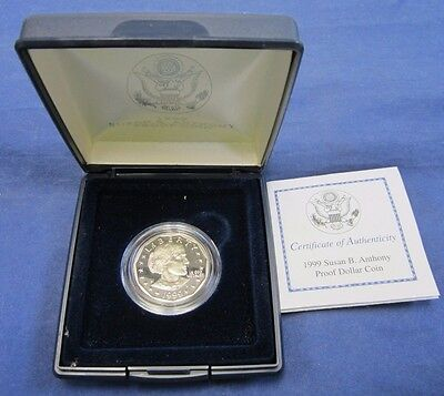 1999 United States Mint Proof Susan B. Anthony Dollar With Coa