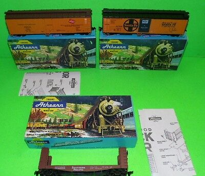 3x  Athearn HO TRAINS IN MINIATURE 1970s assembled wagons MINT NEVER USED BOXED