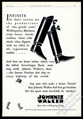 1928 Johnnie Walker Scotch Whisky character boots art vintage print ad