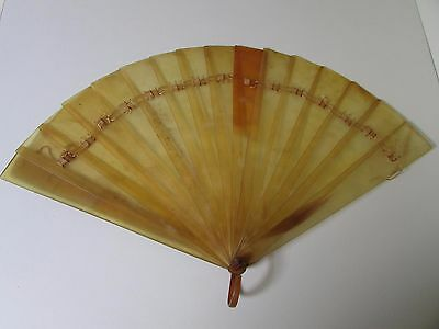 Antique Faux Tortoise Shell Hand Fan Eventail For Repair