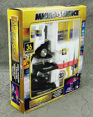Micro-science Microscope Set With 36 Pieces - NEW