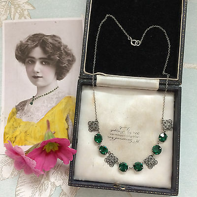 Antique Edwardian Arts And Crafts Emerald Paste Silver Riviere Necklace. Gift