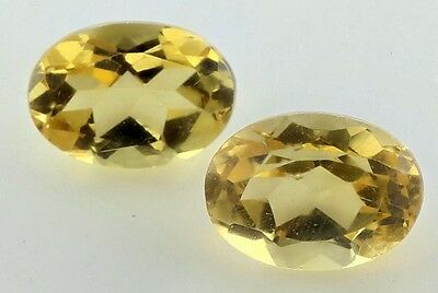 A PAIR OF 7x5mm OVAL-FACET NATURAL BRAZILIAN GOLDEN CITRINE GEMSTONES £1 NR!