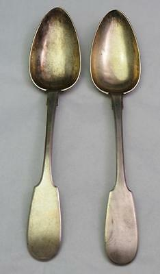 2 Russian Antique Imperial Sterling Silver 84 Serving Spoons 1867
