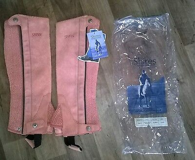 childs half riding chaps shires large pink new