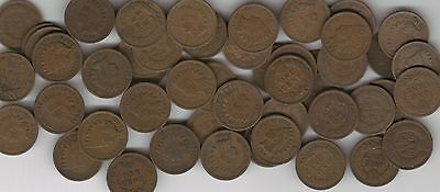 Indian Cent Roll Of 50 Coins Good To Very Good