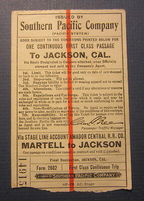 Old 1913 S.P. Railroad - STAGE LINE Ticket Amador Central - Martell to JACKSON