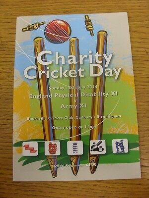 13/07/2014 Cricket Programme: At Bournville, England Physical Disability XI v Ar
