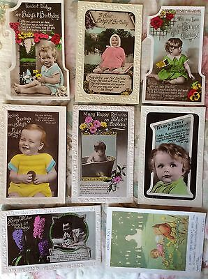 BABY'S 1ST BIRTHDAY  - COLLECTION 1940's REAL PHOTO GREETING POSTCARDS