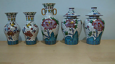 Set of 5 Cloisonné vases (3) & ginger jars (2) Made in China?