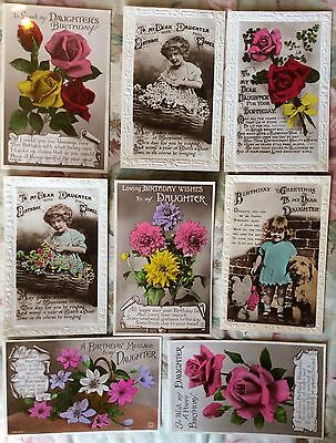 Selection of Birthday greetings to a Daughter - REAL PHOTO POSTCARDS
