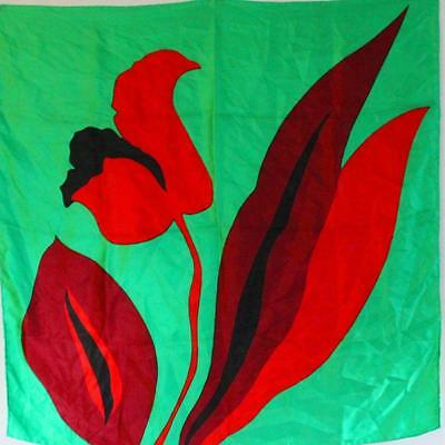 """Bold Red Floral Print 1960S Vintage Green Mod Scooter  30"""" Square Silk Scarf"""