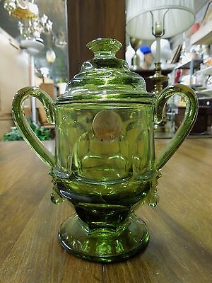 Fostoria Argus Green Glass Sugar with Lid HFM Henry Ford Museum with Sticker