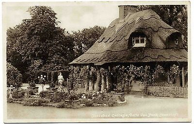 Early Postcard . Thatched Cottage . Belle View Park . Suffolk