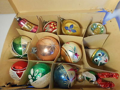 12 Large Vintage Glass 1 Concave 2 Clowns Bell Teardrop Christmas Tree Baubles