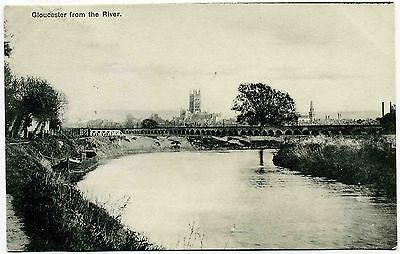 ANTIQUE POSTCARD . GLOUCESTER FROM THE RIVER . GLOUCESTERSHIRE . Pre 1914