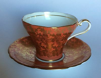 Aynsley Tea Cup & Saucer Corset Shape Orange with Golden Floral Chintz