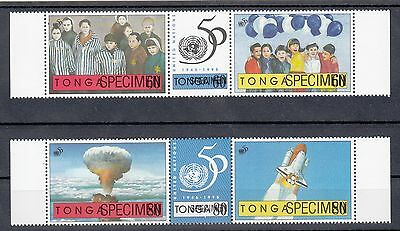"Tonga:1995 50th anniversary of United nations set of 6 overprinted"" SPECIMEN""MUH"