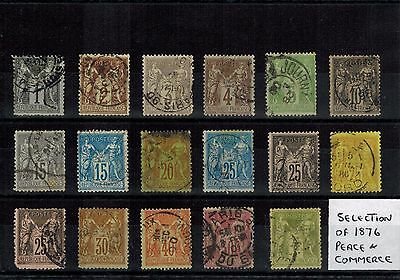 FRANCE 1876 SELECTION OF 17 x DIFFERENT USED PEACE AND COMMERCE STAMPS
