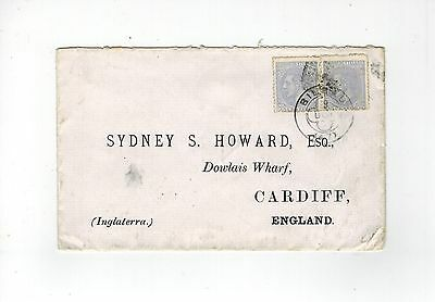 Spain 1880 Cover With 2 X 25C Grey Stamps From 1879 Set Bilbao To Cardiff
