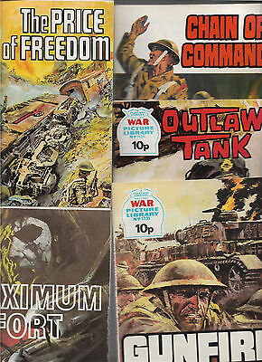 Bundle 5 War Picture Library Gunfire Outlaw Tank Chain of Command etc 1970s Q