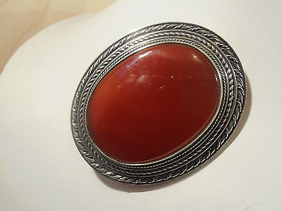 A large vintage hallmarked Silver & Carnelian oval stone pin brooch,London 1988