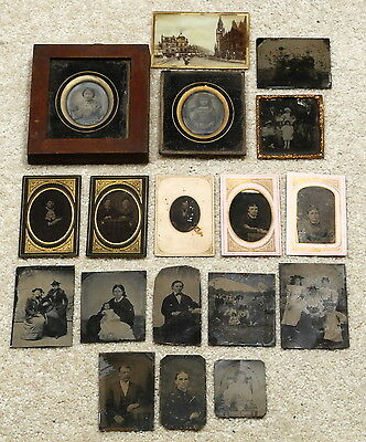 Good Group Antique 19Th Century Tin Type Ambrotype Glass Photographs Portraits