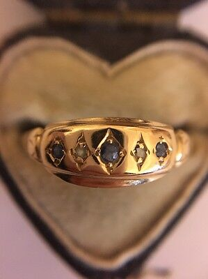 Antique Victorian 18ct Yellow Gold Sapphire And Diamond Five Stone Ring Gypsy