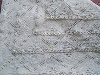 Superb Antique Lefkara Linen Tablecloth~ Exquisite Hand Embroidery & Needle Lace