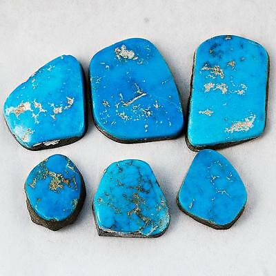 60 Ct LOT NATURAL Old BLUE GEM Turquoise Cabochon Cab Lander County Nevada A9-6