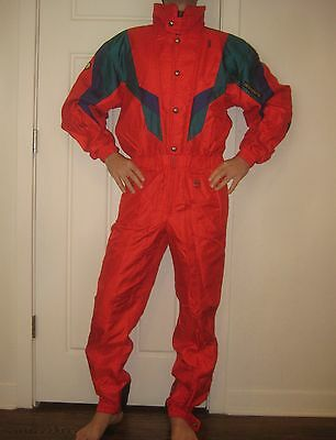 Vtg 80s Red DESCENTE Mens MEDIUM Snow SKI Onesie Suit BIB Jacket Coat Snowsuit M