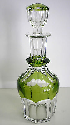 Val St Lambert Emerald Or Peridot Cased Cut Clear Crystal Decanter Signed