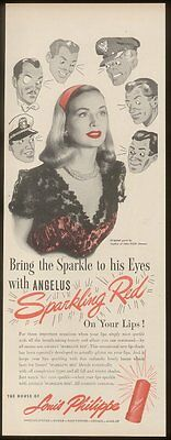 1945 Louis Philippe Sparkling Red lipstick vintage print ad