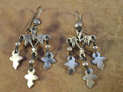 Mexican Mexico Small Sterling Silver Yalalag Cross Earrings