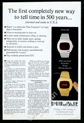 1973 Pulsar LED digital watch Time Computer silver gold photo vintage print ad