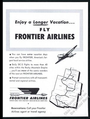 1952 Frontier Airlines plane system map art vintage print ad