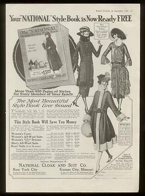 1921 women's dress fashion National Cloak & Suit vintage print ad