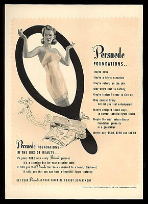 1941 Persuede Foundations woman in corset girdle photo vintage print ad