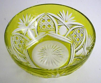 Val St Lambert Richepin Lime Or Peridot Cased Cut Clear Crystal Bowl