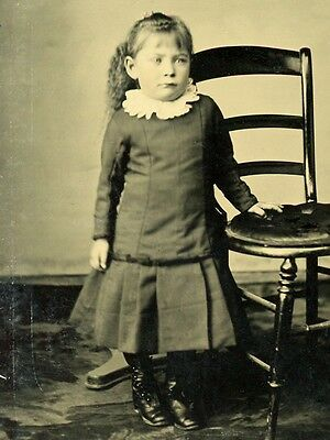 Sixth Plate Tintype Small Child Posing By Ladder-Back Chair
