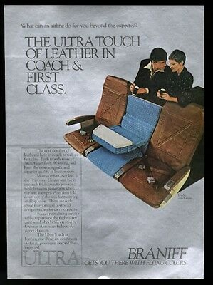 1977 Braniff International leather coach plane seats photo vintage print ad