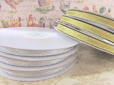 "33 yards Roll Metallic Taffeta 1/4"" Holiday Gift Ribbon/Bow R75-7mm Gold/Silver"