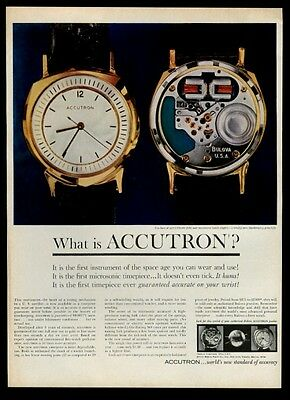 1960 Bulova Accutron watch face and inside color photo vintage print ad