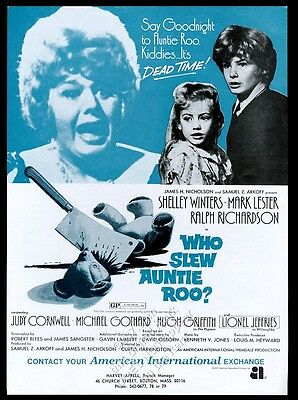 1971 Shelley Winters photo Who Slew Auntie Roo movie release trade print ad