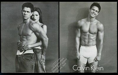 1992 Mark Wahlberg photo scowling and smiling Calvin Klein underwear print ad