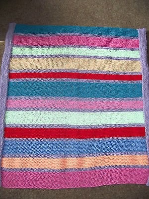 Baby's Hand Knitted Multi-Colour Baby Blanket (Pram Crib Moses)