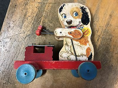 merry mutt 473 early wood fisher-price pull toy