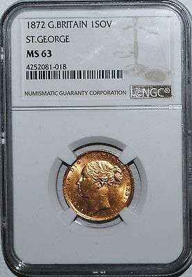 Gold Sovereign 1872 MS 63 NGC Great Britain ST GEORGE SOV COIN UK BU