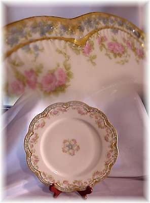 Antiq Haviland Limoges France 271A Lunch Plate Roses Forget Me Not Double Gold C